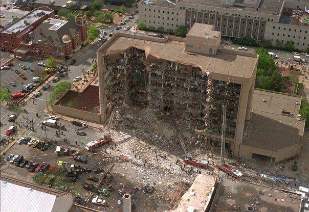 Результат атаки Тимоти Маквея на Федеральное здание им. Альфреда Марра,в Оклахома-Сити, 16 апреля 1995 года.