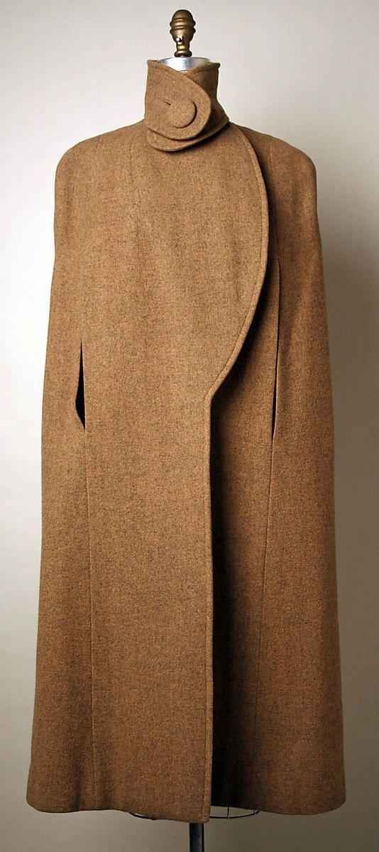 Cape by Pauline Trigère c1952. wool, silk