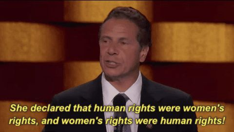 New trendy GIF/ Giphy. dnc democratic national convention dnc 2016 human rights womens rights andrew cuomo she declared that human rights were womens rights and womens rights were human rights. Let like/ repin/ follow @cutephonecases