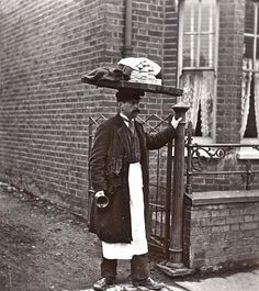 "A Muffin Man, c.1910, London~ Victorian/Edwardian households had many fresh foods delivered; muffins would be delivered door-to-door by a muffin man.The ""muffin"" in question was the bread product known in the U.S.A. as English muffins,not the much sweeter cupcake-shaped American variety.""Have you seen the muffin man, the muffin man.Have you seen the muffin man who lives down Drury Lane."" ""The Muffin Man"" is a traditional nursery rhyme & children's song.Drury Lane is a thoroughfare in…"