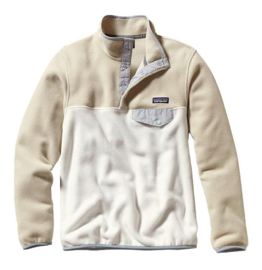 Styled for women. The Patagonia Women's Synchilla® Lightweight Snap-T® Fleece Pullover in Bleached Stone is made from recycled, midweight polyester fleece.