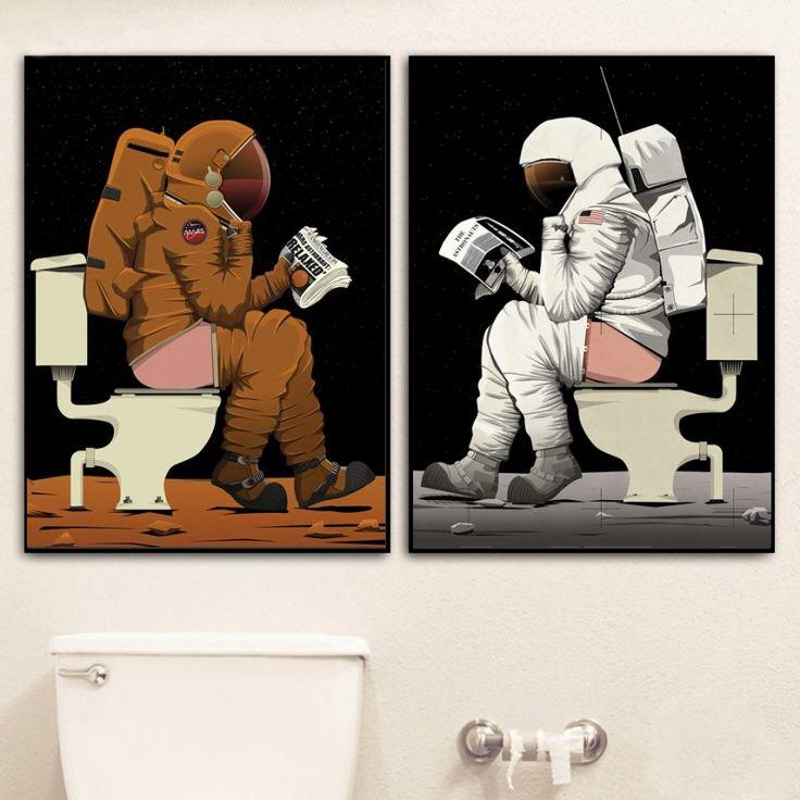 Cartoon astronaut funny toilet bathroom wall art canvas