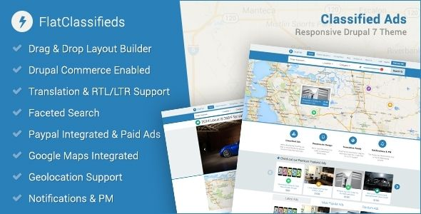 FlatClassifieds - Premium Drupal Classified Ads Theme. Responsive, built on BootStrap, and powerful search capabilities included.