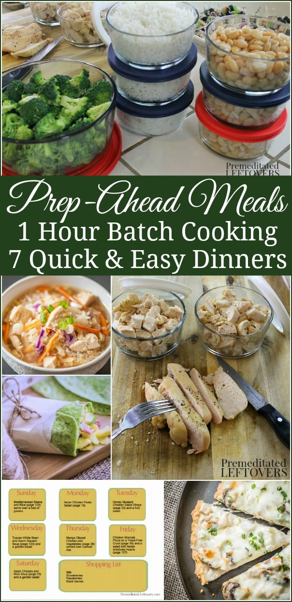 Prep-Ahead Meals from Scratch - How to spend 1 hour of batch cooking and prepping ahead so you will have 7 quick and easy diner recipes prepped ahead for busy nights. Includes break down of batch cooking session and menu plan.