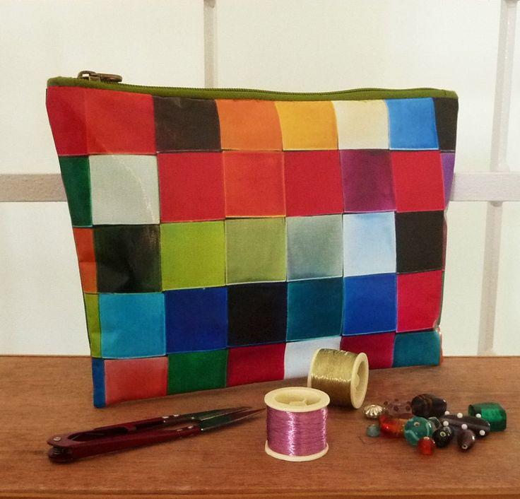 Trousse pochette multi usages originale Mosaïque à carreaux multicolores : Trousses par rougemadras