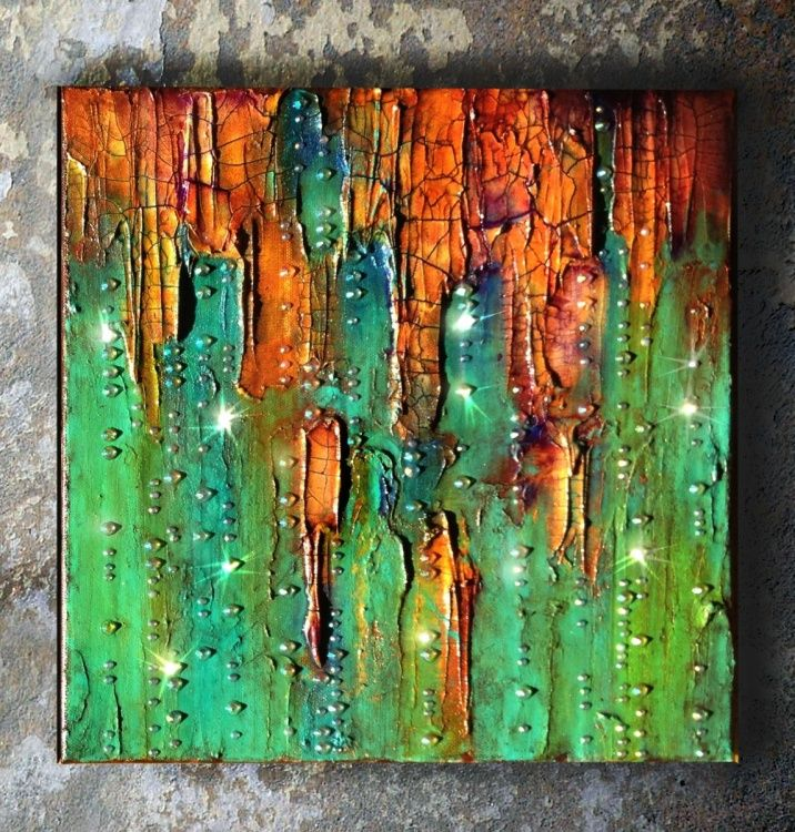 This unusual mixed media diptych painting is titled Emerald City #2. This piece has thick layers of paint in a variety of colorus, rhinestones, modeling and crackle paste. I have always felt that ...