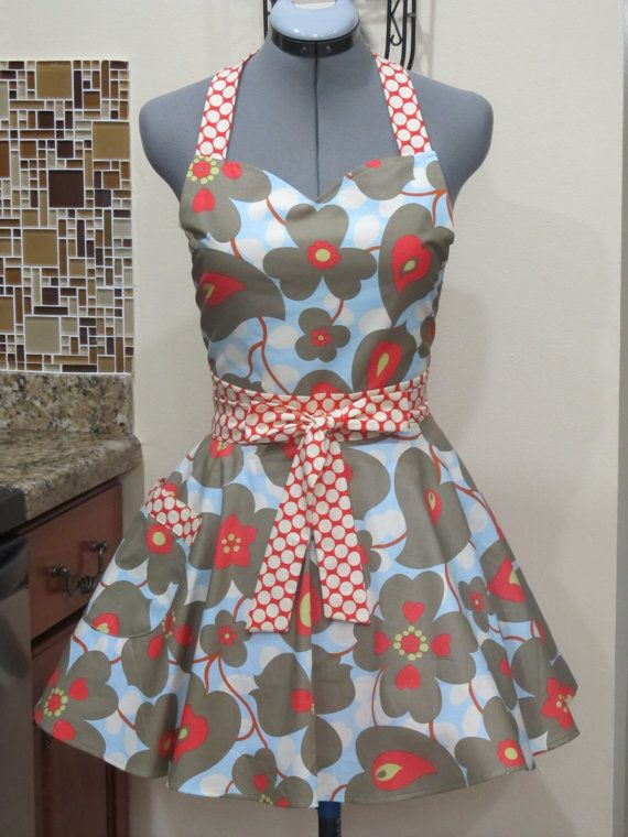 Sweetheart Hostess Apron Amy Butler Lotus by ApronsByVittoria, $36.00
