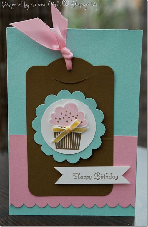 cupcake happy birthday card designed by Monica Gale