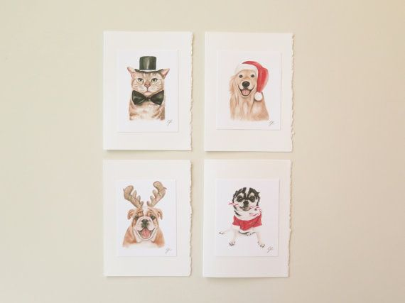 Set of 8 Christmas cards  5 x 7 Artistic blank by Polychromos
