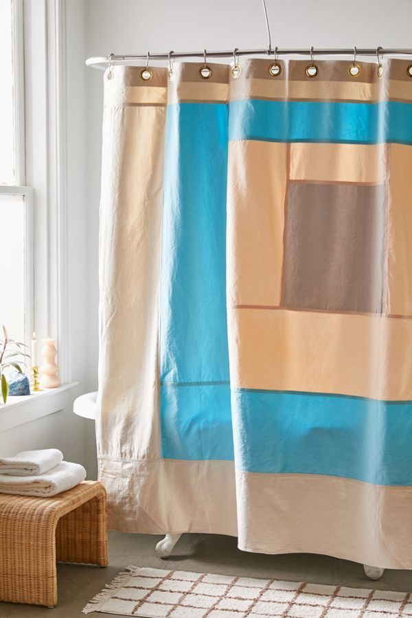Quiet Town Marfa Colorblock Shower Curtain In 2020 Urban Outfitters Curtains Color Block Curtains Shower Curtain