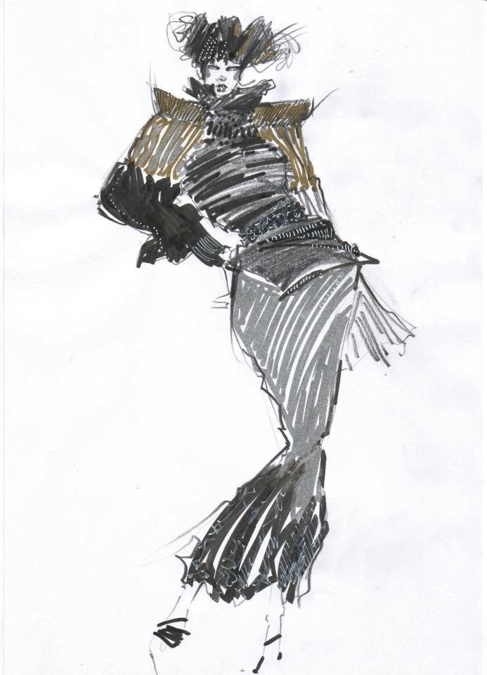 Fashion sketches in pencil and golden or silver marker.