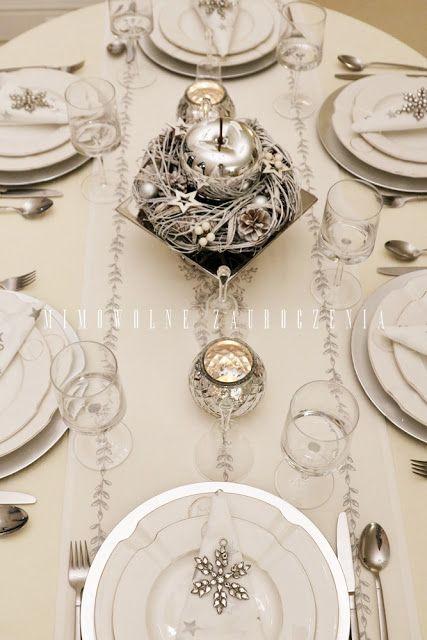 Boże Narodzenie, stół, świąteczny stół, srebro, Mimowolne Zauroczenia blog, jabłko