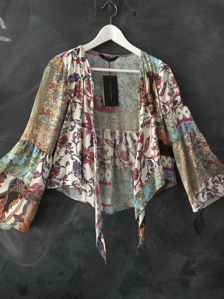 Boho Silky Jacket Cardi Bell Sleeves Nina Proudman Style Zara SZ S | eBay