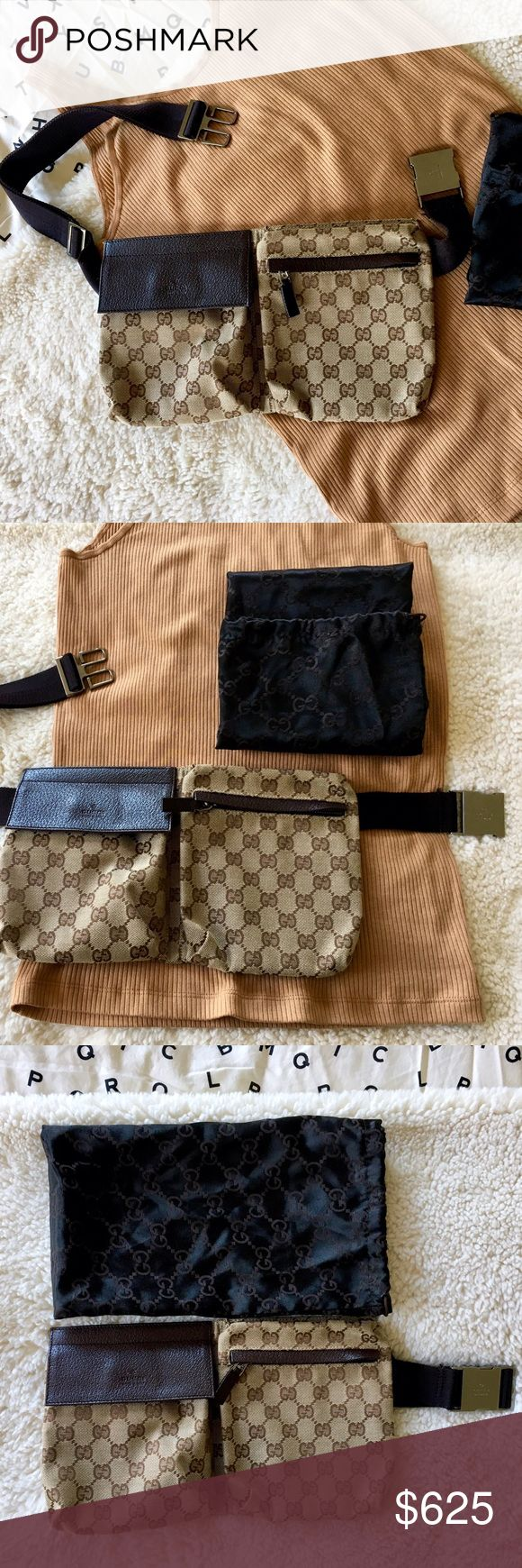 """Gucci GG Canvas Belt Bag- Beige/Ebony-Cocoa GG canvas belt bag with fastener on front pocket, and rear zip pocket. Original GG beige/ebony-cocoa leather trim and strap. Adjustable waist or shoulder strap with Gucci trademark engraved clip, ruthenium hardware closure. Double compartments with hook-and-loop flap velcro closure and zip. Front and rear zippers run smoothly. Dust bag included. Made in Italy.                            Approx measurements:  10"""" x 6"""" x 1"""" Gucci Bags Crossbody Bags"""