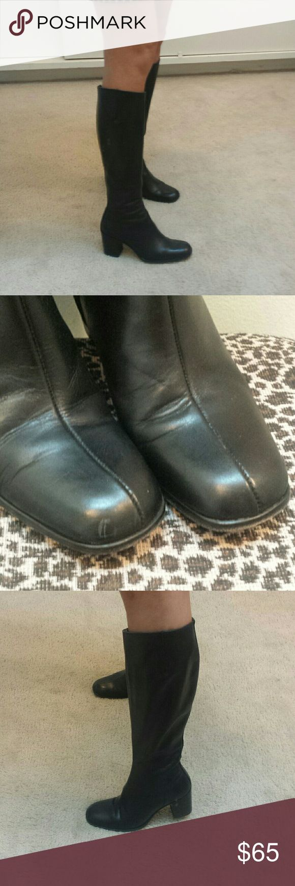 Charles David leather tall boots size 6 Great used condition. Leather is amazing. Tight fit. Fits small size 6. Looks good with jeans or skirt. Scuff on left shoe. See second photo Charles David Shoes