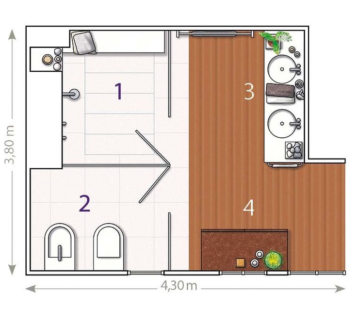 Plano bano con divisiones de cristal 750 for Planos de cuartos de bano pequenos
