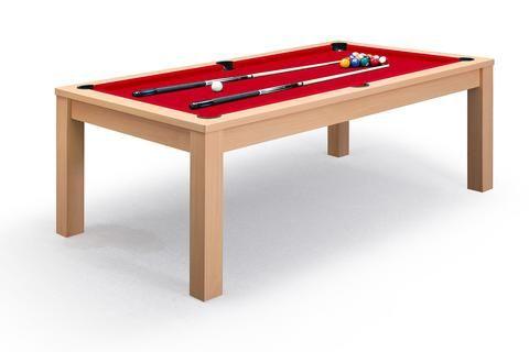 Billard convertible table de salle à manger Defaistre en chêne et tapis rouge