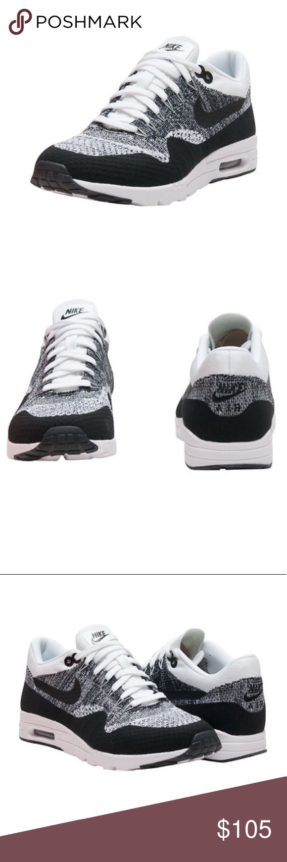 Women's Nike Air Max 1 Ultra Flyknit Sneakers NIKE  Women's low top sneaker  Lace closure  Woven Flyknit yarns integrate areas breathability, stretch and support Ultra midsole for additional comfort  No-sew film overlays enhance durability and structure  Flex grooves in the forefoot let your foot move naturally NWT, comes with box Nike Shoes Sneakers
