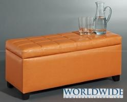 ABBY STORAGE OTTOMAN, ORANGE - Small scale for compact spaces, perfect for storage or extra seating  Also available in grey, brown and white