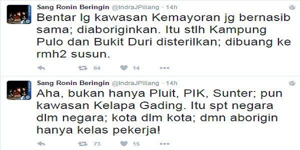 SEKALI LAGI! INDRA J. PILIANG MEMBONGKAR PERLAKUAN BUSUK AHOK KEPADA WARGA ASLI JAKARTA!  [portalpiyungan.com]Pengamat politik sekaligus kader Partai Golkar Indra Jaya Piliang 'menelanjangi' habis kerja pencitraan Gubernur DKI Jakarta Basuki Tjahaja Purnama (Ahok) melalui akun twitternya@IndraJPiliang. Dari kerja tim buzzer atau tim sosial media Ahok pencitraan di media massa sembako pencitraan dari pengembang reklamasi hingga bantuan komputer KPUD DKI. Pria kelahiran Pariaman Sumatera Barat…