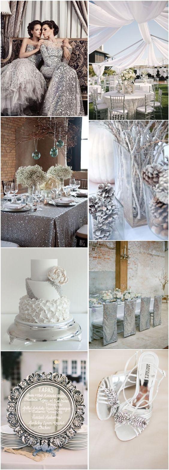 50 Silver Winter Wedding Ideas for Your Big Day   http://www.deerpearlflowers.com/50-silver-winter-wedding-ideas-for-your-big-day/