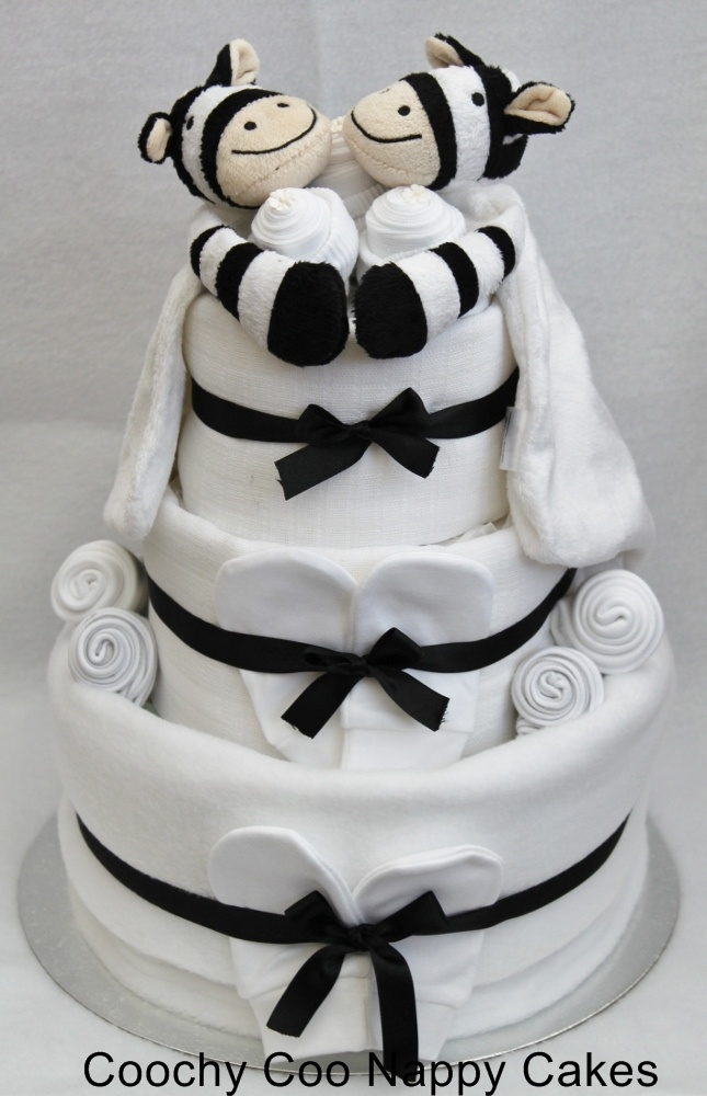 Nappy cake for twins! Cuddling zebras! So cute