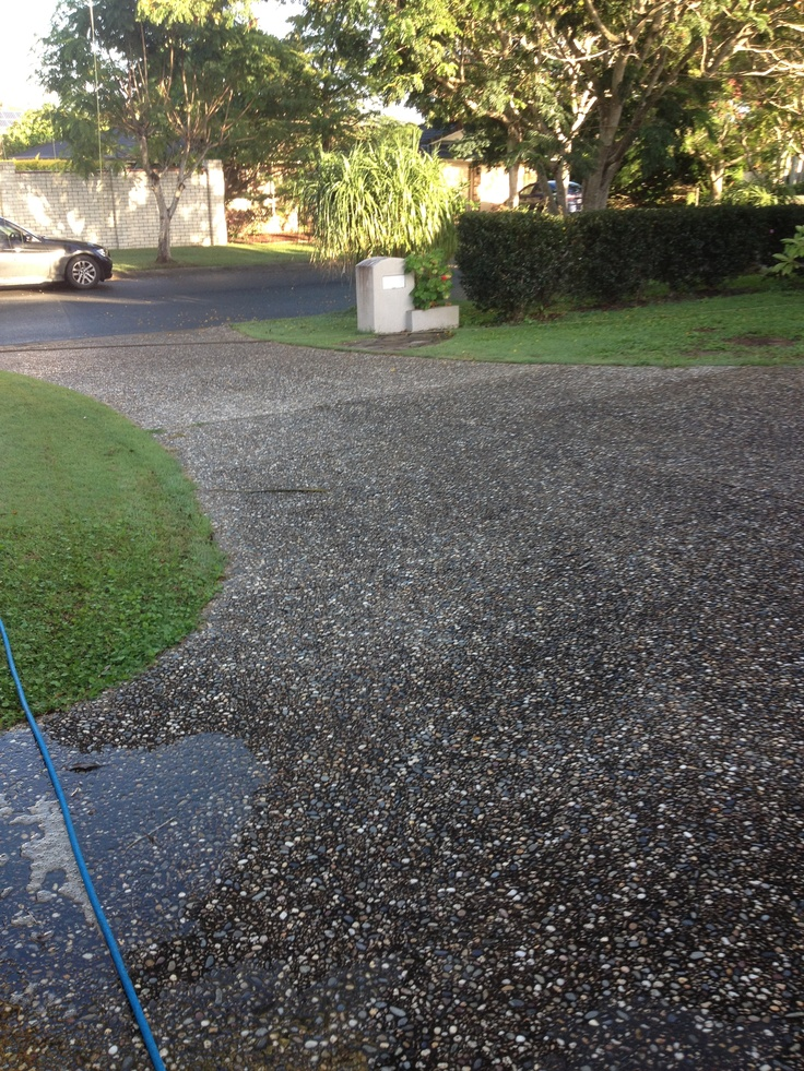 Look at how #dirty this #driveway is. Call us for a free quote 07 3399 4951 www.completeclean.com.au   #Brisbane   #pressurecleaning