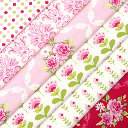 Tilda Fruit garden pink red fabric