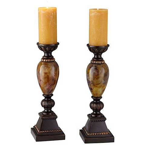 "Kathy Ireland Mulholland 16""H Pillar Candle Holders Set of 2"