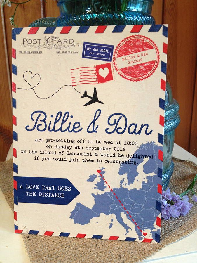 Wedding invitation, air mail design