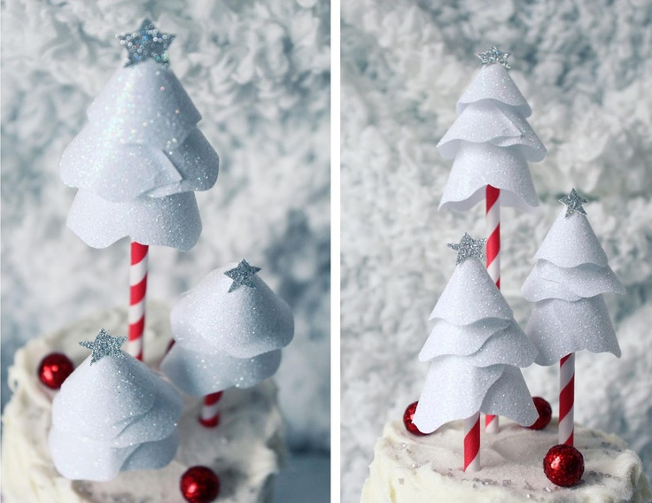 Icing Designs: Winter Tree Toppers from doilies and stripy straws