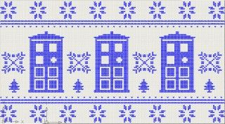 """""""We wish you a merry Tardis"""" - knitting chart - wouldn't it make adorable cross-stitched hand towels?!"""