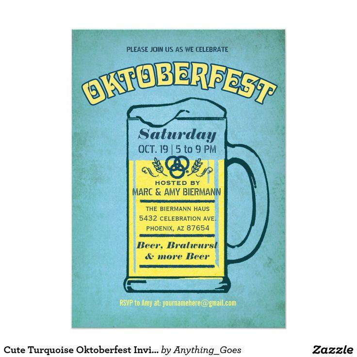 Cute Turquoise Oktoberfest Invitations                              …