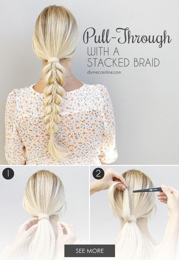 Looking to jazz up your three-strand braid? This is the tutorial for you. Don't worry; while a pull-through with a stacked braid may look super-complicated, it has only a few more steps than a typical pull-through ponytail. Plus, the results are absolutely stunning. - DivineCaroline.com