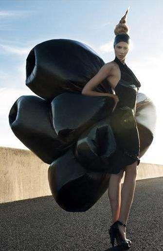 Bin bag dress  http://file.trendhunter.com/thumbs/chic-garbage-bag-fashions-michelle-janks-ponystep-editorial.jpeg