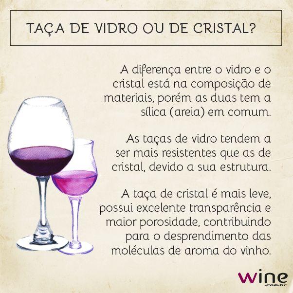 Além do formato da taça, a composição dela é importante para a degustação do vinho.      Taça de cristal ou de vidro, o que não pode é faltar vinho!