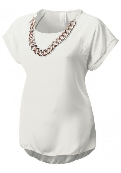 Short Sleeve Chiffon Blouse with Removable Chain Necklace - New Arrival