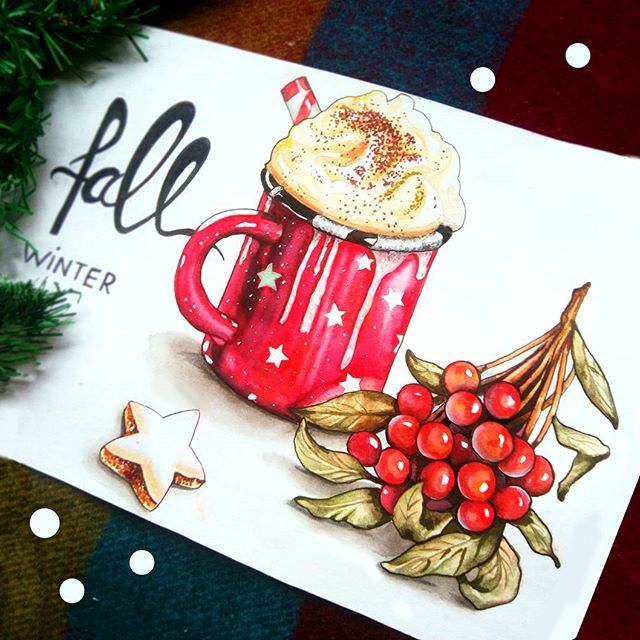 #coffee #cacao #newyear #merrychristmas #art #illustration #artist #sketchbook #drawing #winter #winterfall