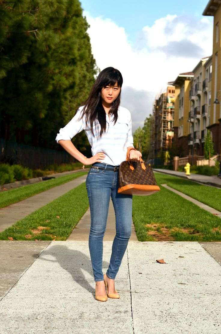 alma-monogram-louis-vuitton-bag-equipment-striped-silk-blouse-top-frame-skinny-jeans-outfit - Copy - Copy