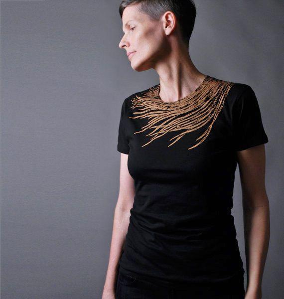 Women's Black Fashion T shirt Metallic Copper by sealmaiden