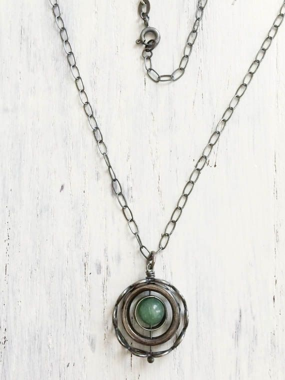 Sterling Silver Kinetic Pendant - Dark Oxidized Modern Contemporary Nestled Circles Necklace