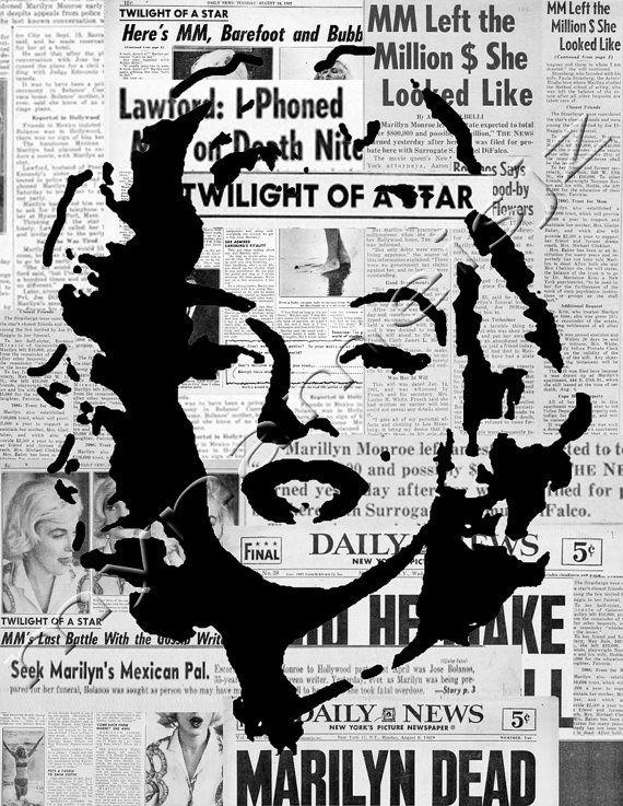 Marilyn Monroe Art graffiti style stencil art print by mynameisjz