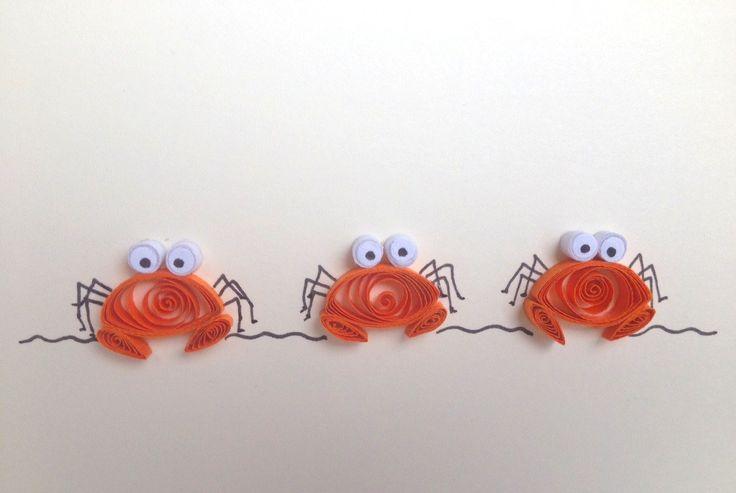Tarjeta quilled cangrejos naranja Quilled tarjeta por ElPetitTaller