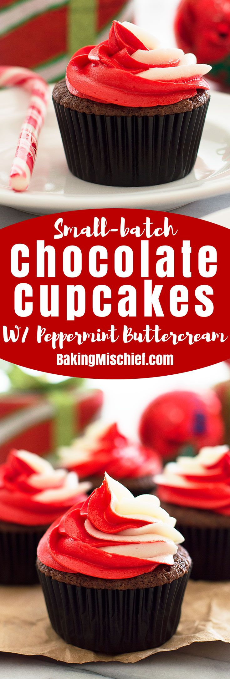A recipe for four perfect and adorable small-batch chocolate cupcakes with peppermint buttercream from my new cookbook, Baking for Two. Recipe includes nutritional information. From BakingMischief.com
