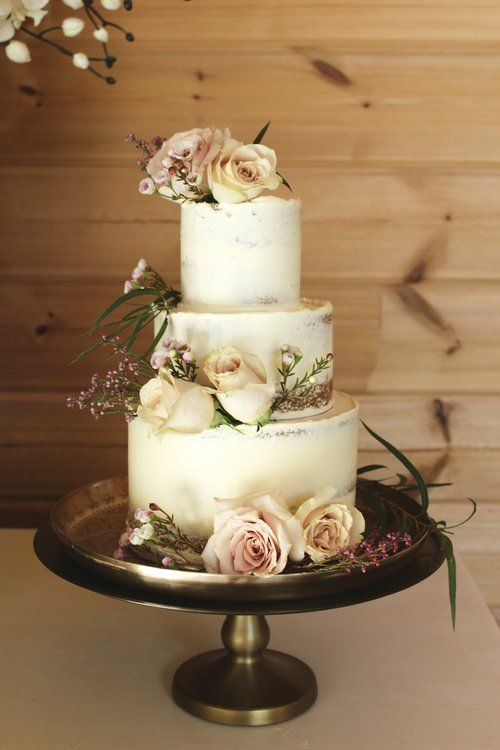 Semi Naked Blush And Burgundy Wedding Cake Cakesbyyolk