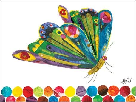 Eric Carle's Fluttering Butterfly Art - love all the bright colors for a child's room!