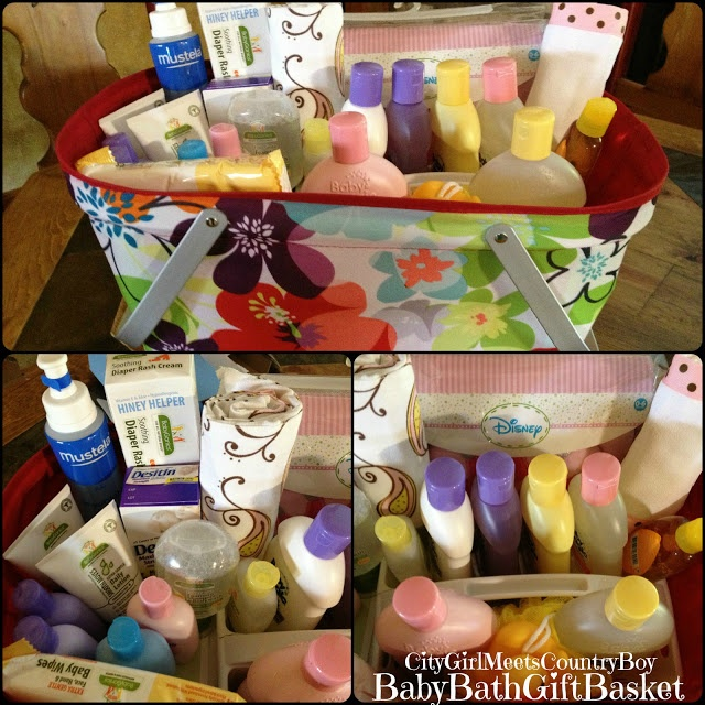 Baby Bath Gift Basket Baby shower gift ideas Baby Girl City Girl Meets Country Boy: Baby Shower Gift