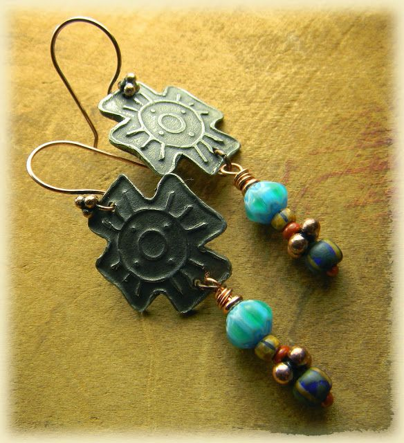Maricopa Point, by Gloria Ewing, Native Maricopa inspired earrings focus around white copper southwestern crosses from Kristi Bowman, to which I have added colorful Czech beads for that tribal look and rustic copper accents and ear wires. Mixed metals make them more primitive looking, and I like the contrast it adds as well. Earrings Everyday @Gloria Ewing