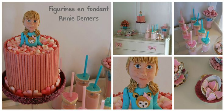 girly sweet table figurine pink and blue www.facebook.com/figurinesanniedemers
