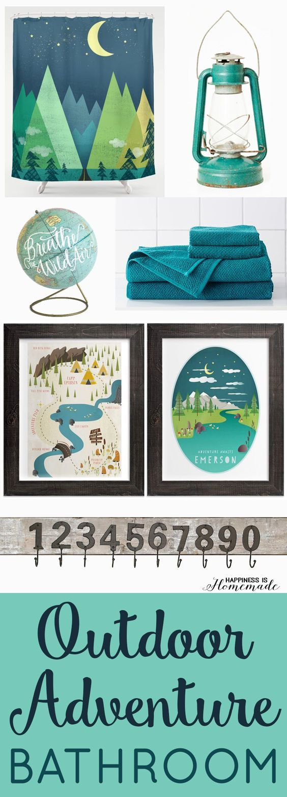 Boys Outdoor Adventure Themed Bathroom with #MintedKids artwork from @minted  - Happiness is Homemade